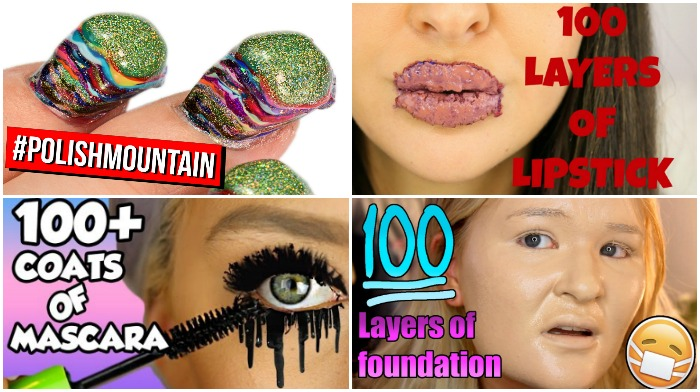 100 layers of makeup challenges || TREND